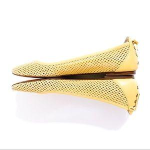 J. Crew Yellow Quorra Leather Die Cut Ballet Flats